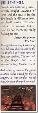 Resposta sobre a música do Templo do Fogo na Nintendo Power