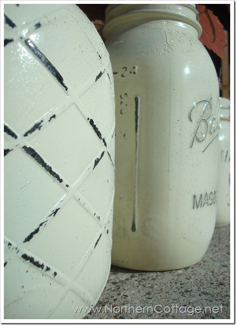 creamy shabby jars@NorthernCottage.net