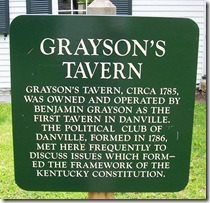 Grayson's Tavern descriptive sign in front of tavern