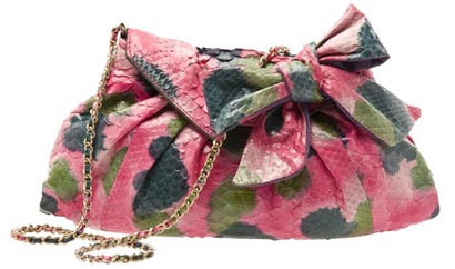 zagliani-pleat-painted-python-shoulder-bag