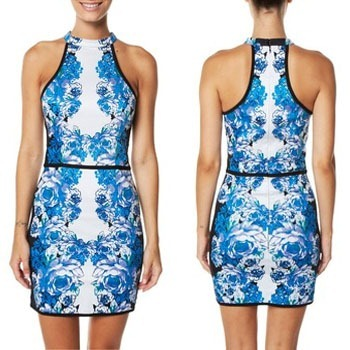 Piper Lane Mirrored Sports Luxe Dress - Blue Mirrored Floral - Surf Stitch - Westfield