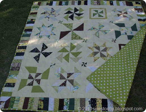 Dottie backing on pinwheel quilt