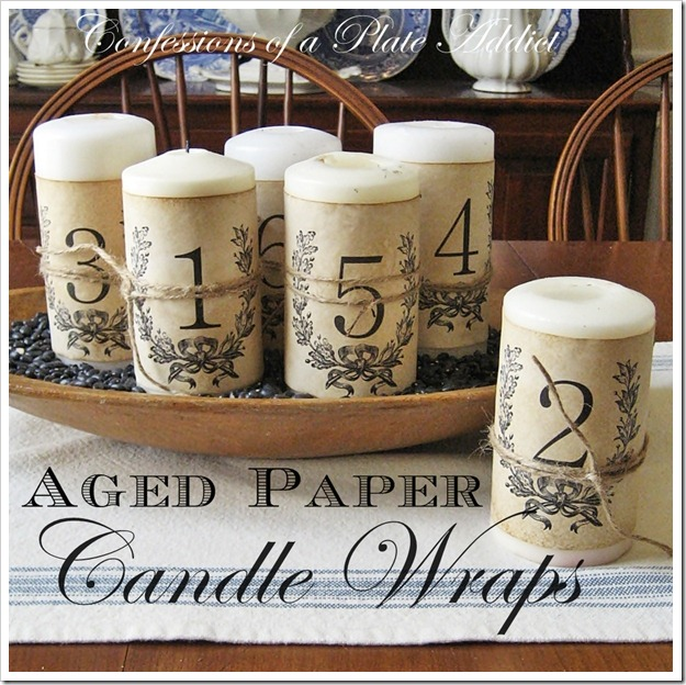 CONFESSIONS OF A PLATE ADDICT Aged Paper Candle Wraps