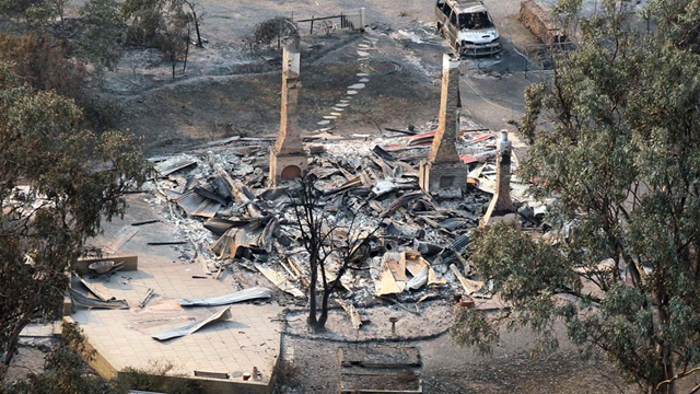 Aerial view of a house destroyed by bushfire in Dunalley, east of Hobart, in Tasmania, 6 January 2013. Reuters