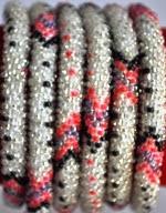 rollover bracelet silver pink black