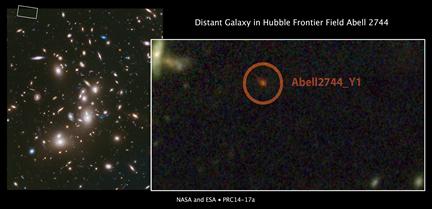 galáxia distante no alomerado Abell 2744