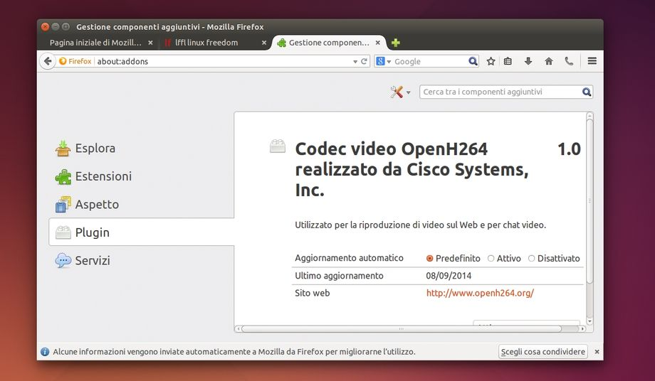 Mozilla Firefox - plugin OpenH264