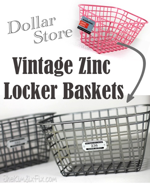 Dollar Store Vintage Zinc Locker Baskets