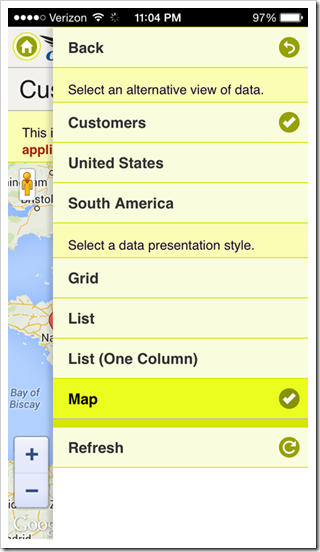 Context menu of an app with Touch UI rendered in iPhone 5S.