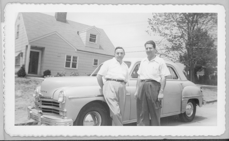 Jack Bloch (left) and Max Gundy outside their home with their 1950 [?] Plymouth automobile. Circa 1950.