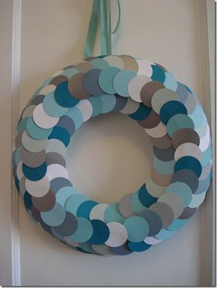 Winter wreath--cardstock paper circle wreath in blues, grays, and white