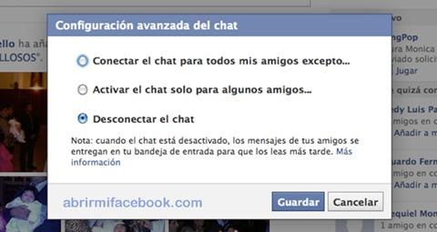 configuración avanzada del chat de facebook.com