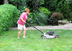 1307143 July 27 Barb Cutting Lawn