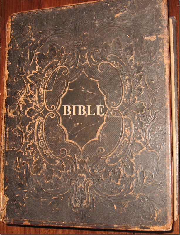 Antique 1853 Holy Bible Old and New Testament. Old, Family Bible. Printed in 1853. Heavy decorative hard cover. BIBLE. Leather