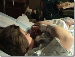 mommy and Caleb just after birth