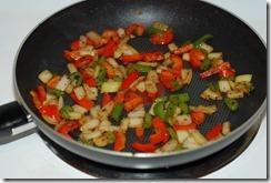 Stir-fry veggies for a few minutes