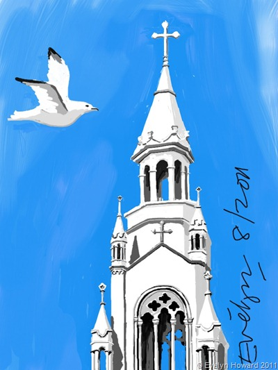 Church Ipad painting © Evelyn Howard 2011