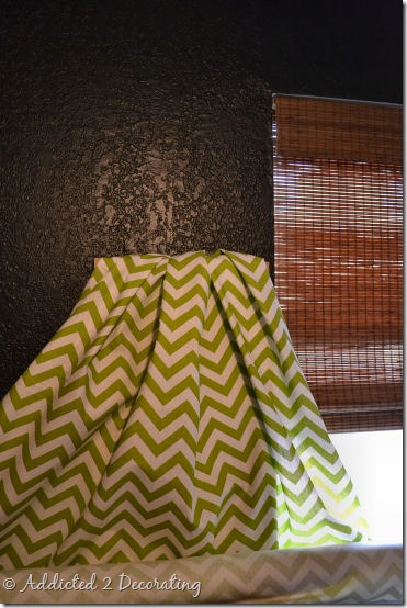 green and white chevron fabric for office