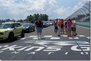 Rev. McDermott standing at the Start/Finish Line - Watkins Glen International