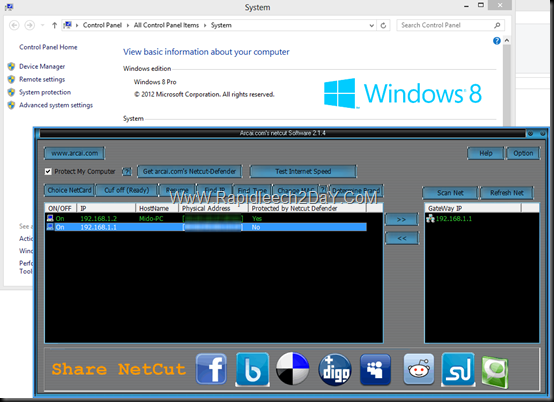 Netcut on windows 8 Test