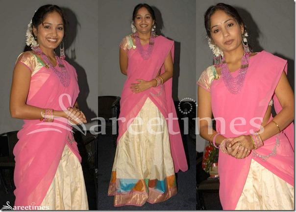 Madhavi_Latha_Pink_Cream_Half_Saree