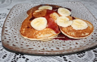 Banana Pancakes - from a  GF mix - served B