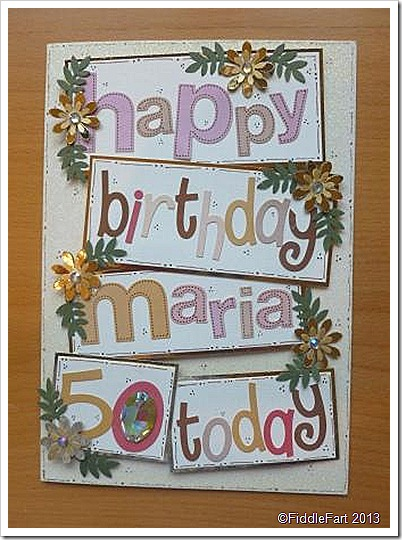 50th Birthday Card Female Alphabet Stickers
