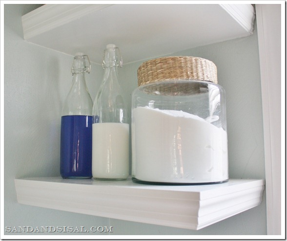 Detergent stored in glass bottles and containers