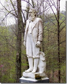 Devil Anse Hatfield grave marker in Logan County, WV