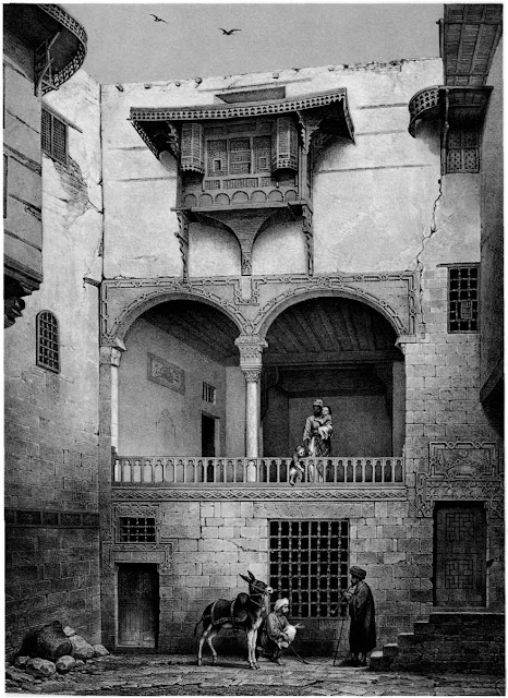 Bayt al-Shalabi, courtyard, 18th century. With Prisse's focus on details at multiple depths. The complexities of domesticity emerge. Private and public space are explored wrth social constructs that position people in the building: male servants busy themselves on the ground, a female servant looks on from above, while cloistered ladies are presumably hidden behind the mashrabiya.