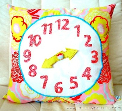 clock pillow by the silly pearl