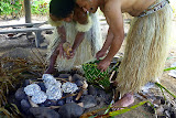 Emptying The Lovo or Underground Oven With Our Lunch - Suva, Fuji