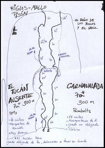 Riglos - Pison - Carnavalada 300m 7b (6a A0 Oblig) (Dibujo)