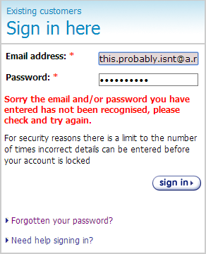 Generic message saying username and / or password is incorrect