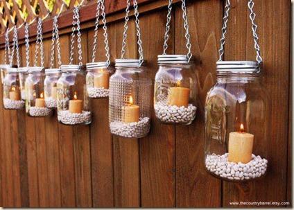 lanternas com potes de vidro