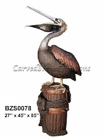 Standing Pelican Open Mouth on Stump