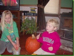 Hailey and Toby pumpkin 2011