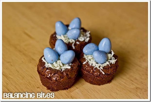 Easter Egg Nest Mini Brownies