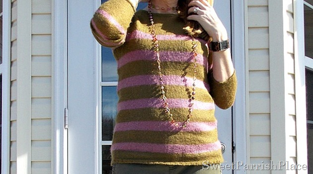 Olive and purple striped sweater
