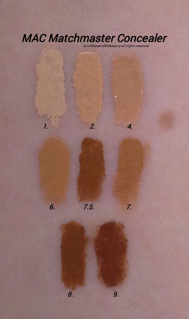 Mac Matchmaster Concealer Stick; Review & Swatches of Shades 1, 2, 4, 6, 7, 7.5, 8, 9,
