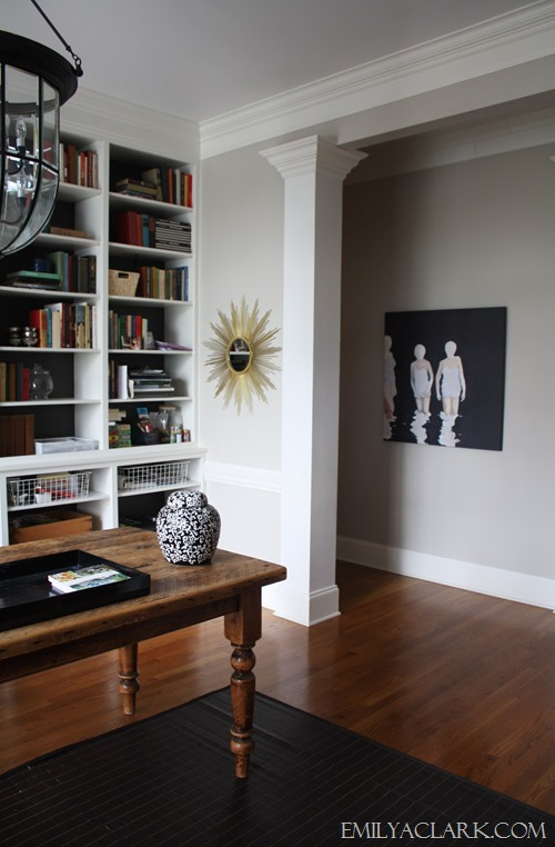 black and white painting in home office