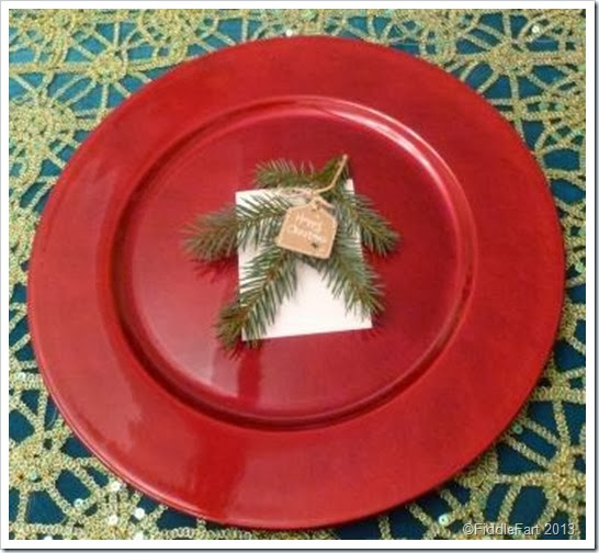 Evergreen Christmas Place setting with tag