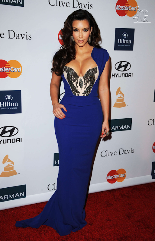 Curvy Kim Goes More Curvy in Blue Modern Dress