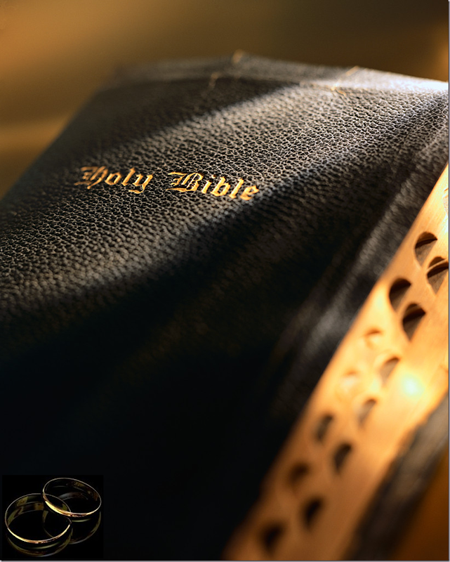 Holy Bible and Wedding Rings
