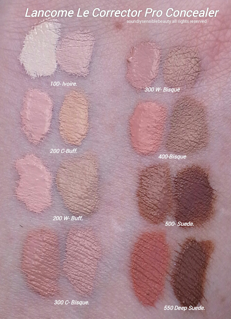 Lancome Le Corrector Pro Concealer Kit/Palette; Review & Swatches of Shades 100 Ivoire, 200 C Buff, 200 W Buff, 300 C Bisque, 300 W Bisque, 400 Bisque, 500 Suede, 550 Deep Suede