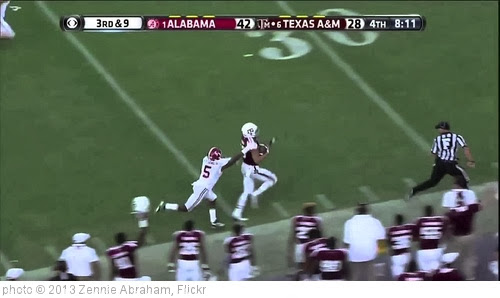 'Johnny Manziel 95 Yard TD Pass To Mike Evans Texas A&M v Alabama' photo (c) 2013, Zennie Abraham - license: http://creativecommons.org/licenses/by-nd/2.0/