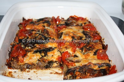 Crustless Eggplant Portabella Deep Dish Pizza - serving