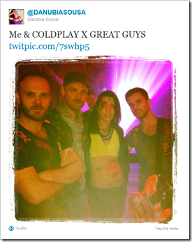 Twitter - @DANUBIASOUSA- Me & COLDPLAY X GREAT GUYS ...