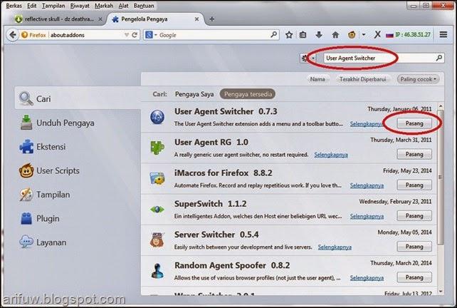 user agent switcher addon install