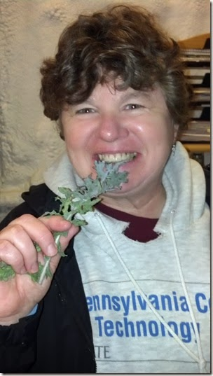 Linda eating kale